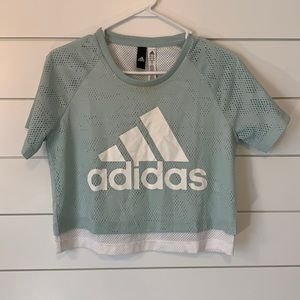Adidas Crop Jersey Short Sleeve Top- Size Small